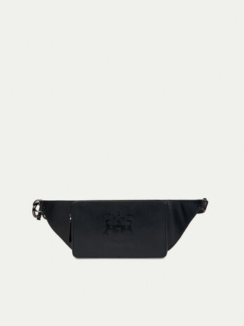 Leather belt bag with logo