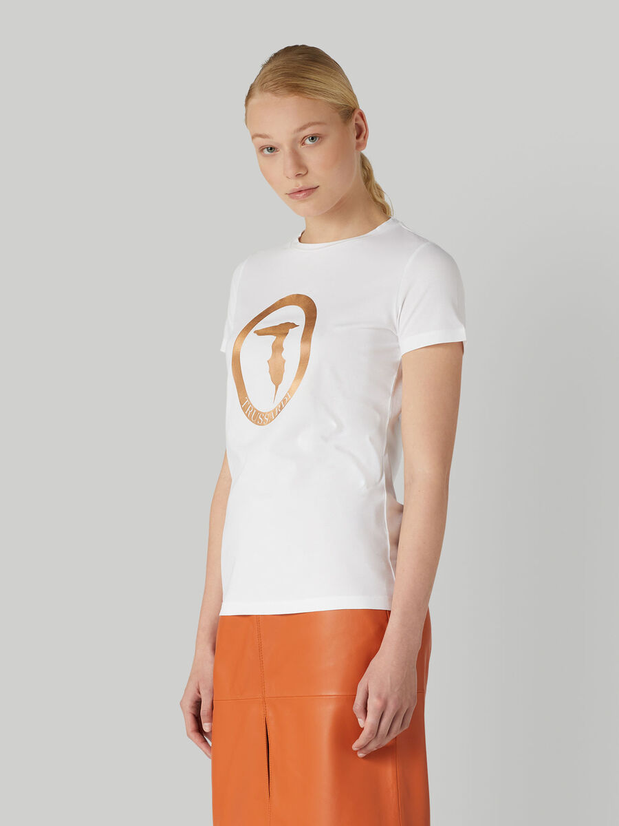 Regular-fit stretch jersey T-shirt with logo