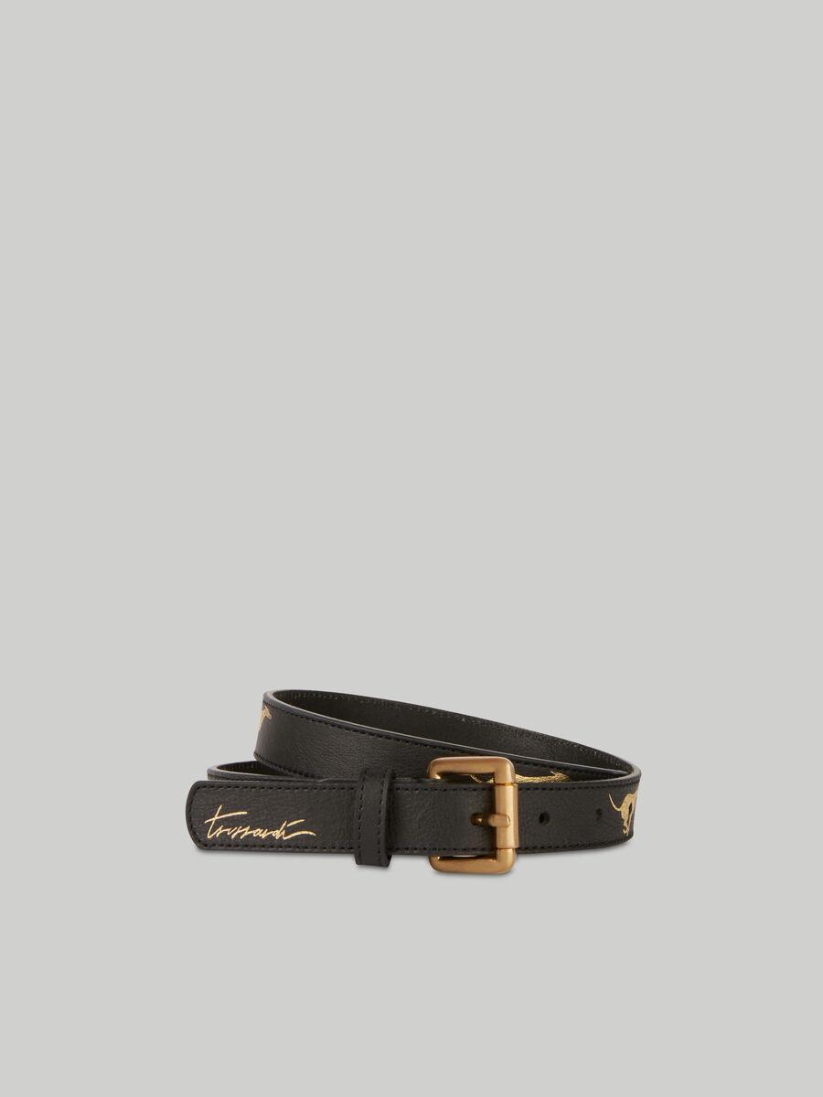 Leather belt with laminated Levriero print