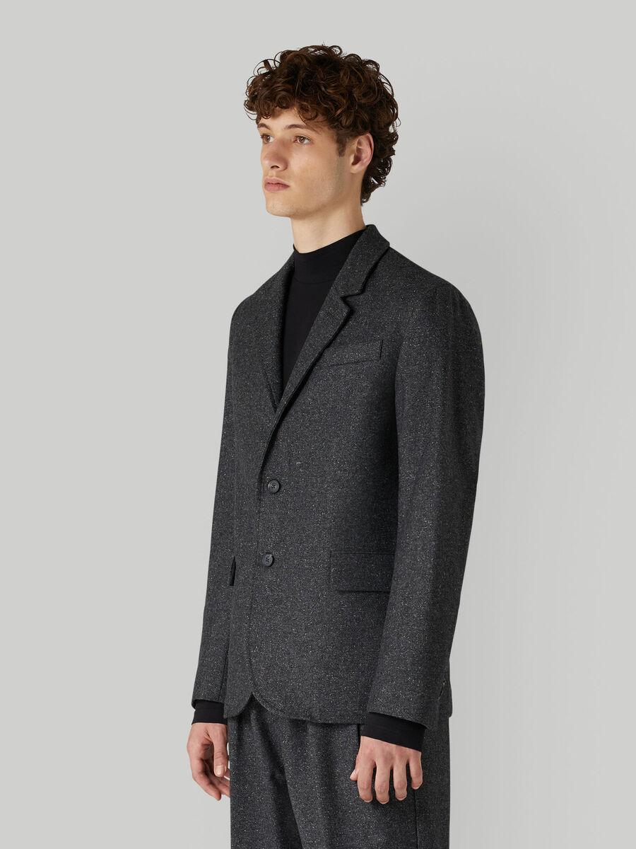 Speckled wool-blend jacket