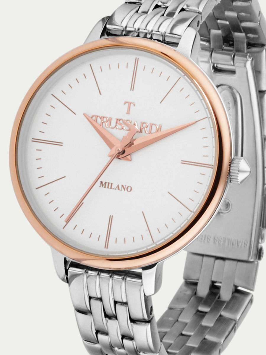 Silver T Sun watch with golden trims