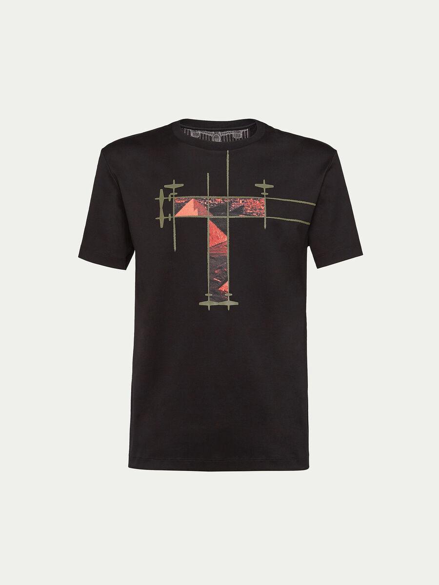 Printed pure cotton interlock T shirt