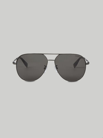 Lunettes de soleil aviateur en titane argente fonce