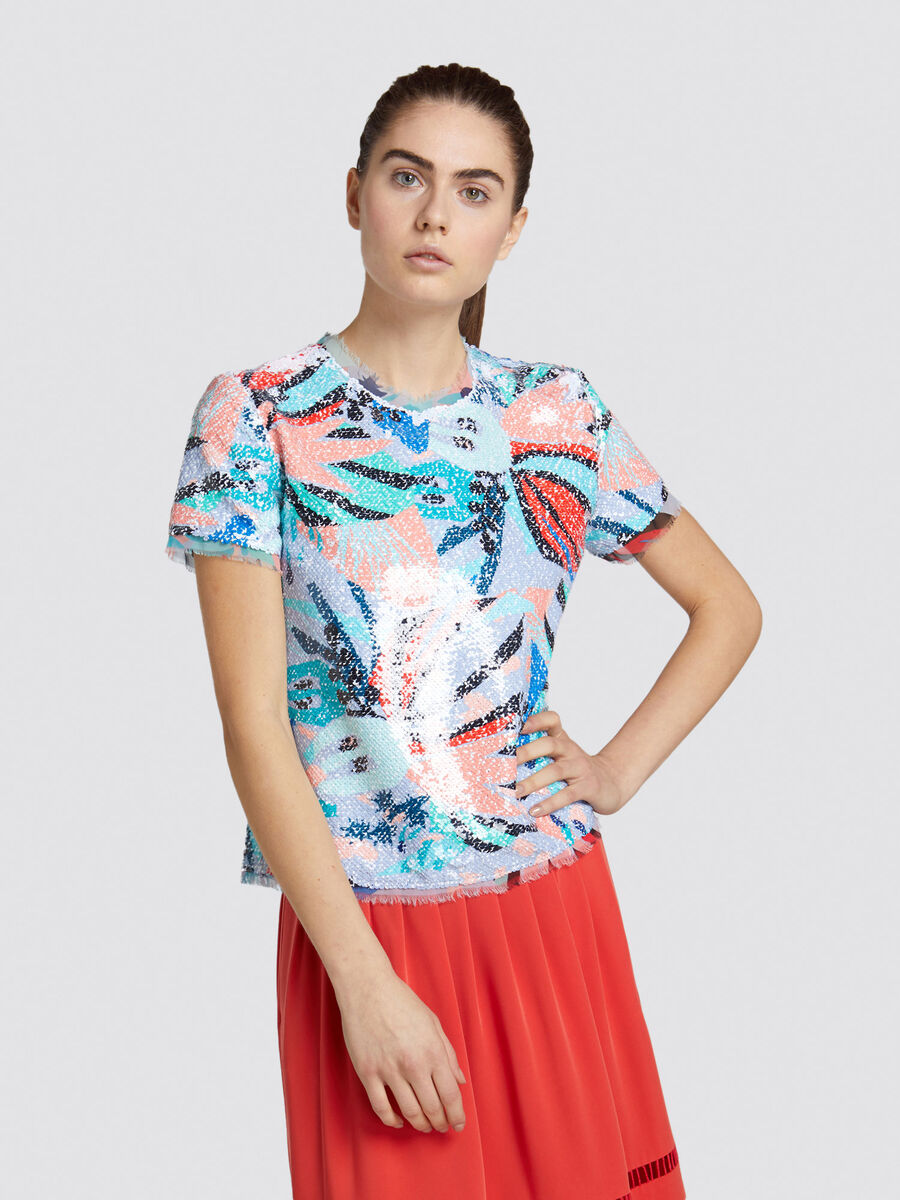 Regular fit cropped top in sequinned viscose sable