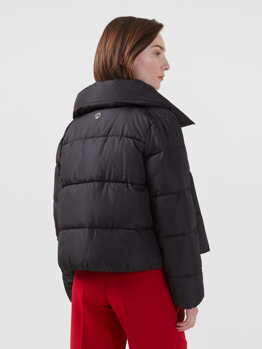Soft matte nylon down jacket with bow