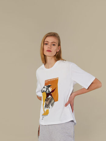 T-shirt coupe over en pur coton imprime