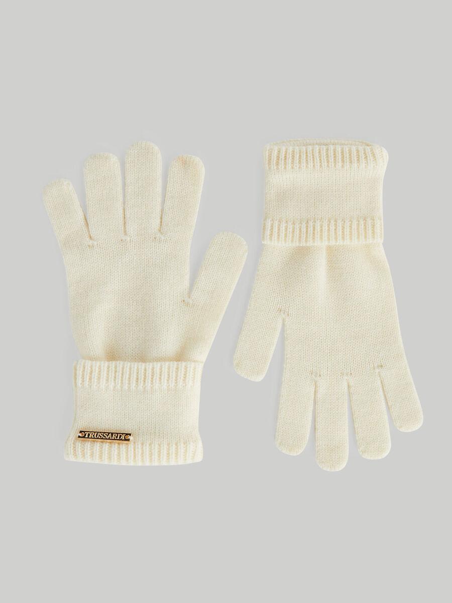 Wool-blend gloves with metallic logo