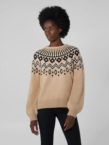 Crew neck wool blend pullover
