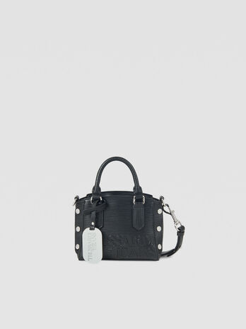 Mini Melly tote bag in faux saffiano leather