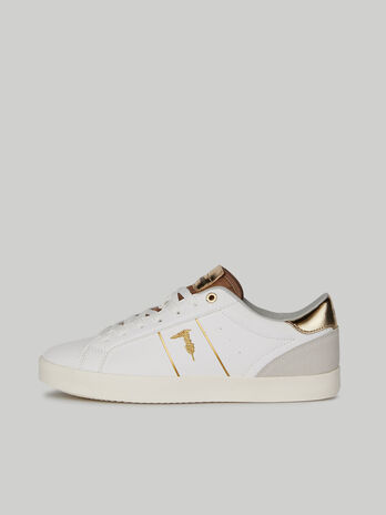 Faux leather Ector sneakers with embroidered logo
