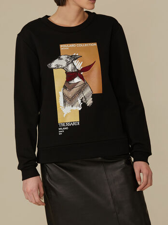 Sweat-shirt coupe classique en coton a imprime