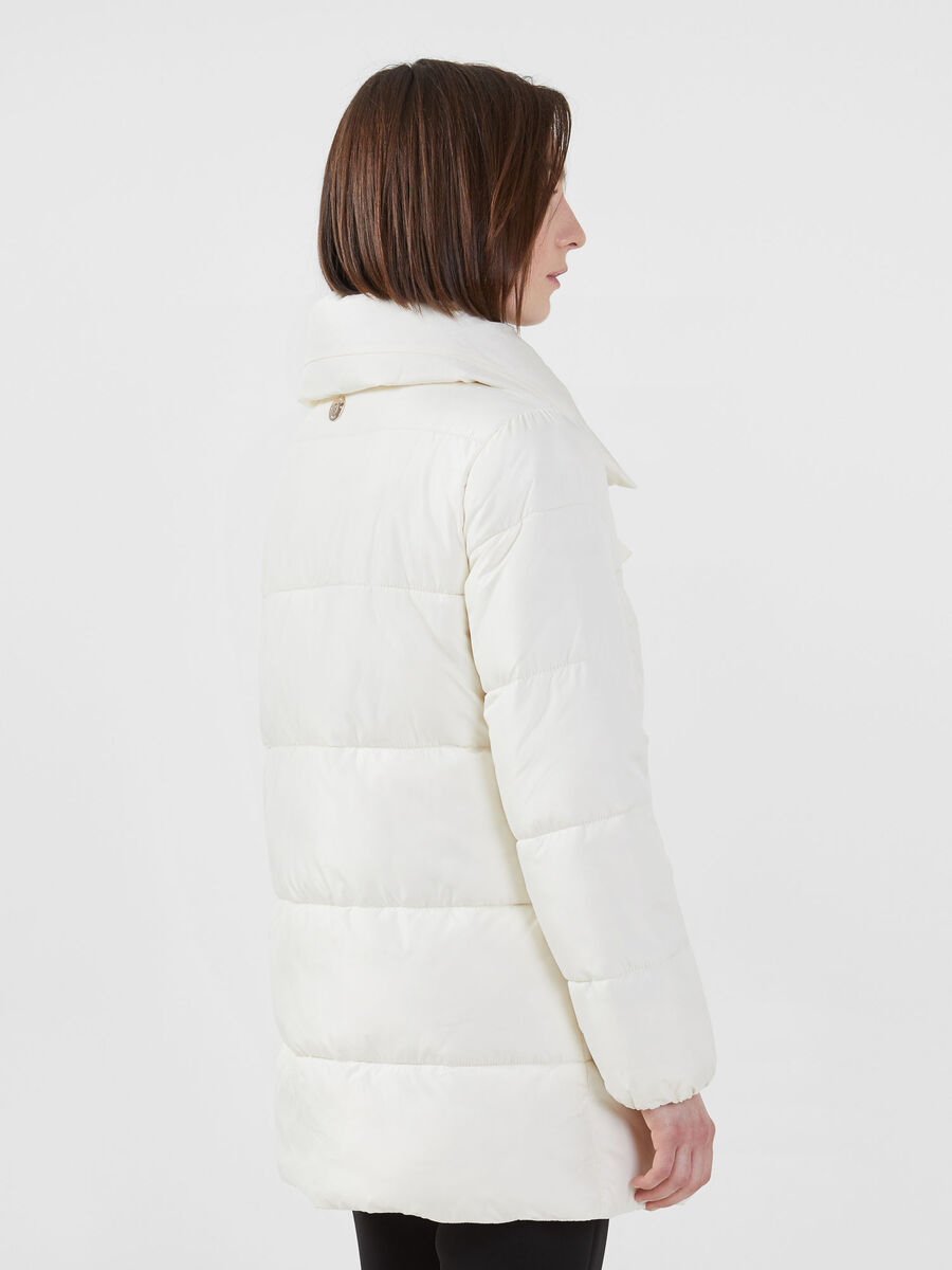 Oversized down jacket in soft matte nylon