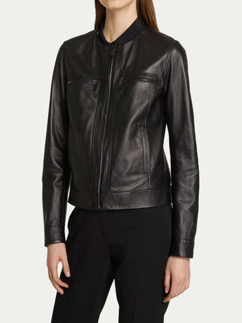 Slim fit jacket in contrasting leather