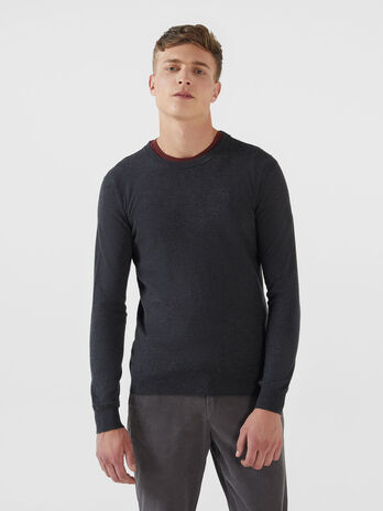 Slim fit cotton and silk pullover