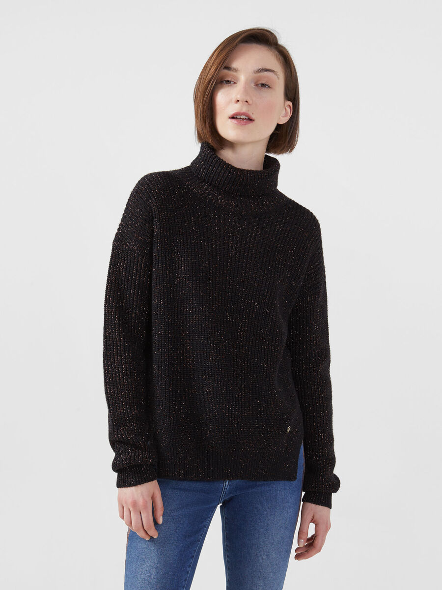 Pullover a collo alto in misto lana lurex