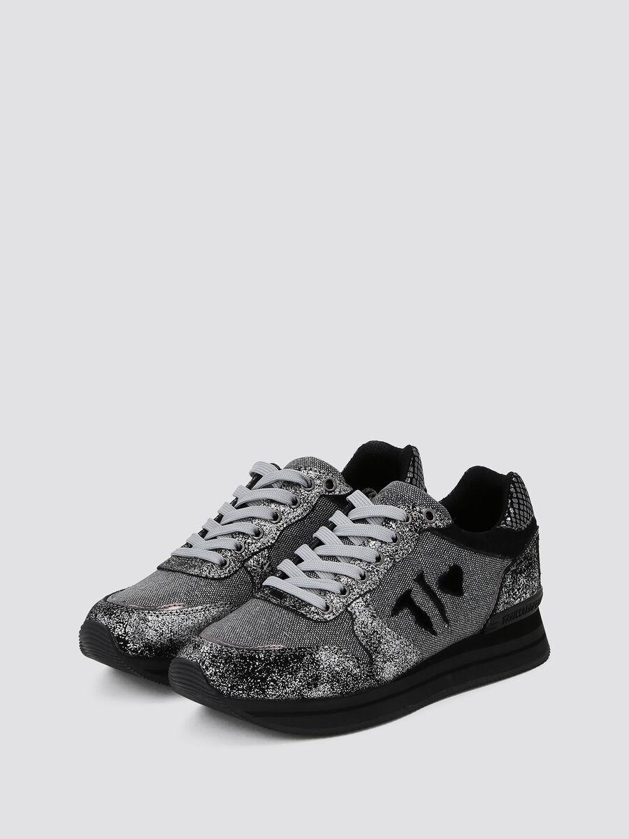 Sneakers running con film glitterato