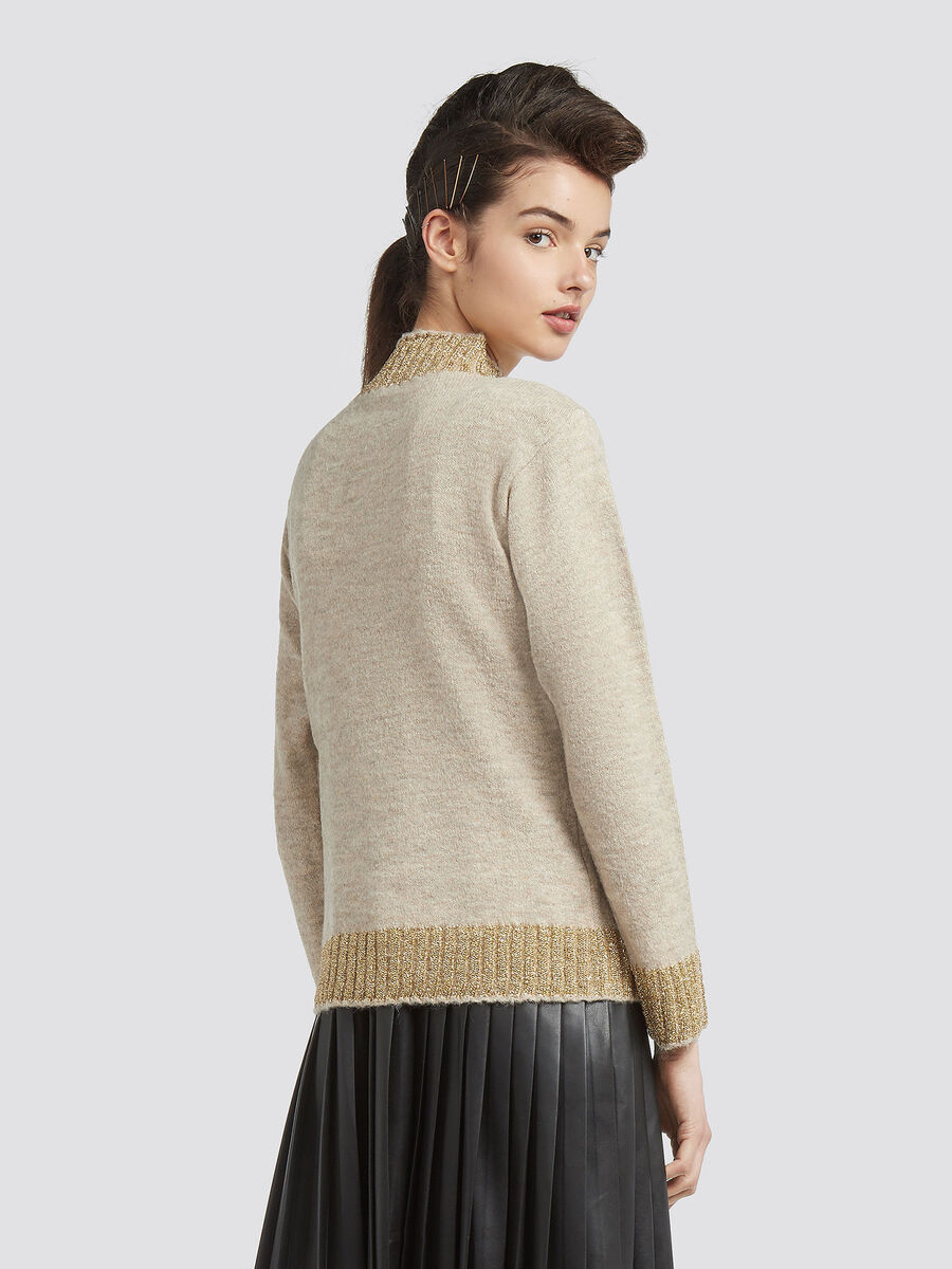 Stretch mohair pullover with high neck