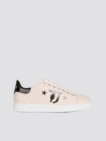 Sneaker aus einfarbigem Lederimitat mit Maxilogo