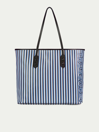 Large leather shopping bag with striped print