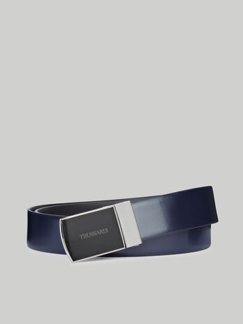 Leather belt with enamelled plate