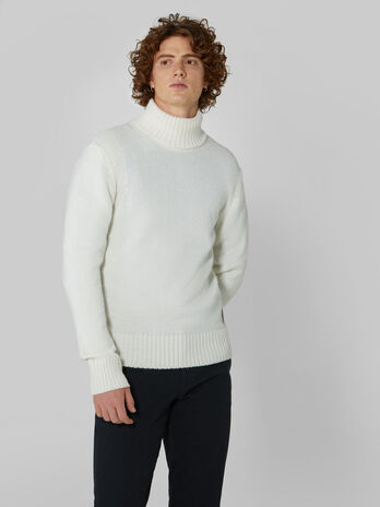 Regular fit wool and alpaca polo neck pullover