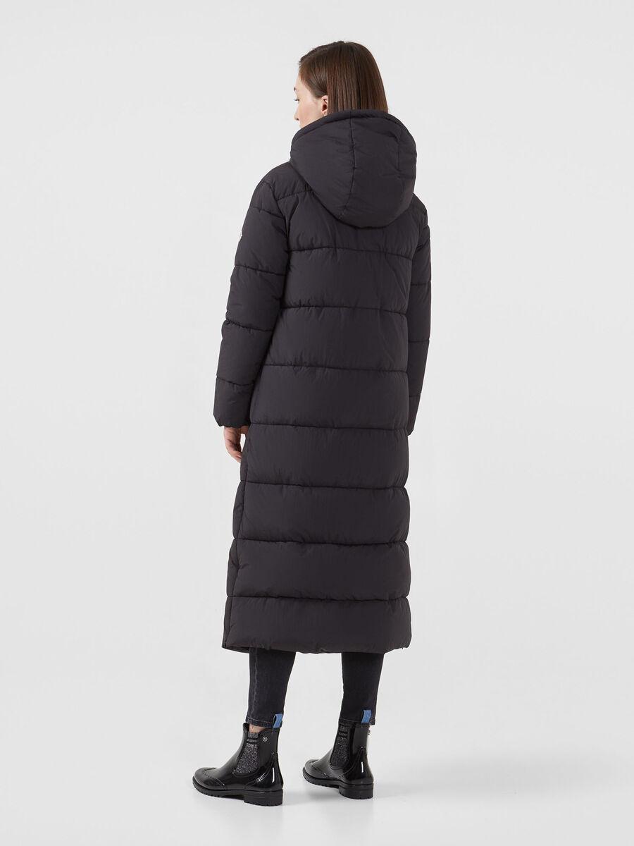 Long regular fit down jacket in matte nylon