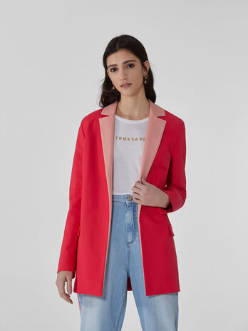 Two-tone blazer in double cotton