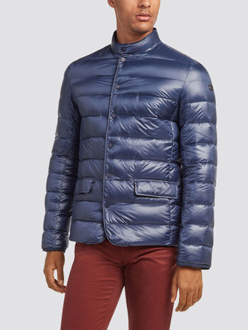 Slim fit nylon down jacket with buttons