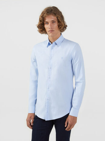 Camicia regular fit in Oxford stretch con collo Miami