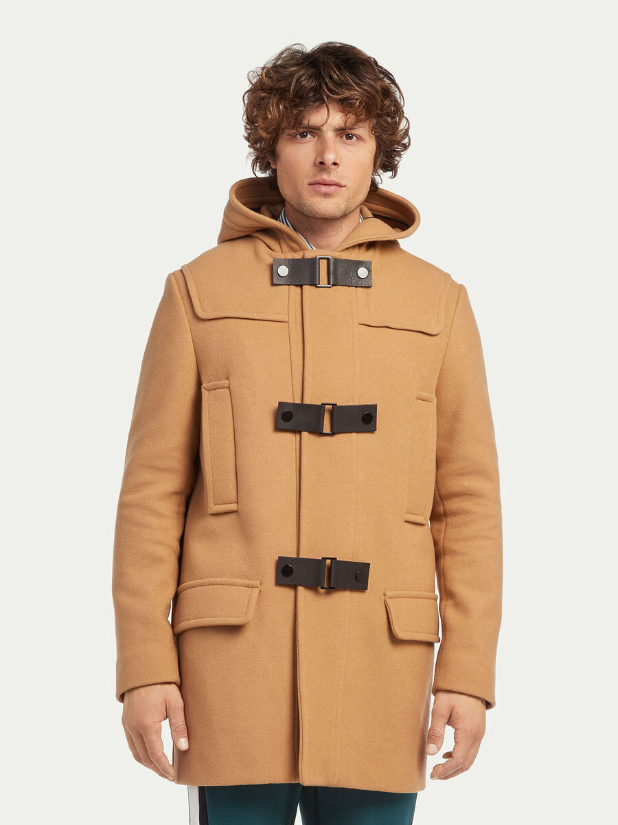 Regular fit solid colour duffel coat