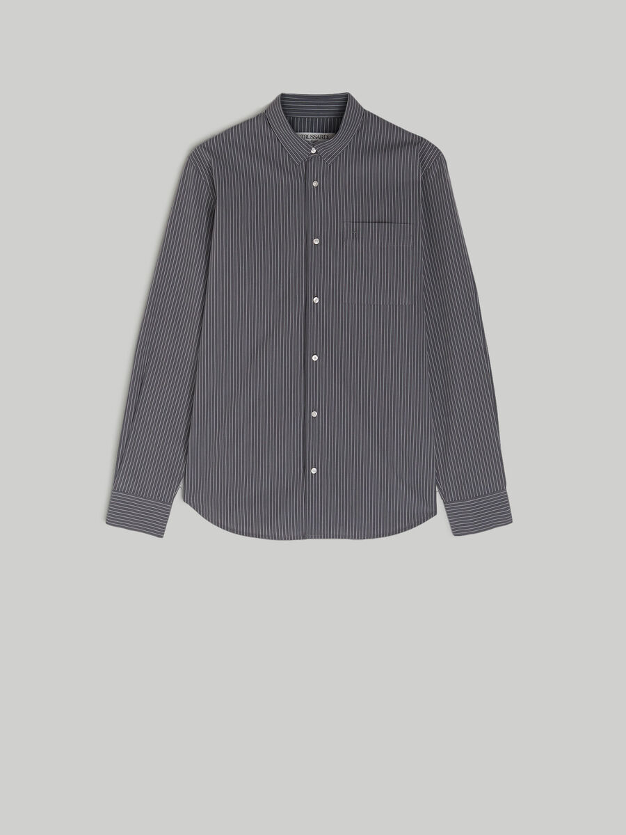 Striped cotton shirt with breast pocket