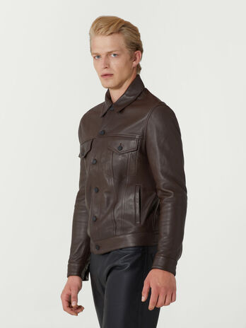 Giacca slim fit in pelle