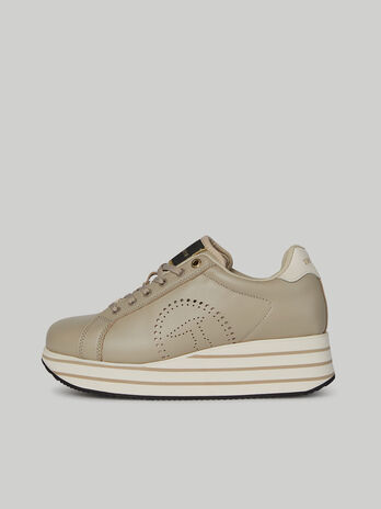 Leather Erika sneakers with perforated logo
