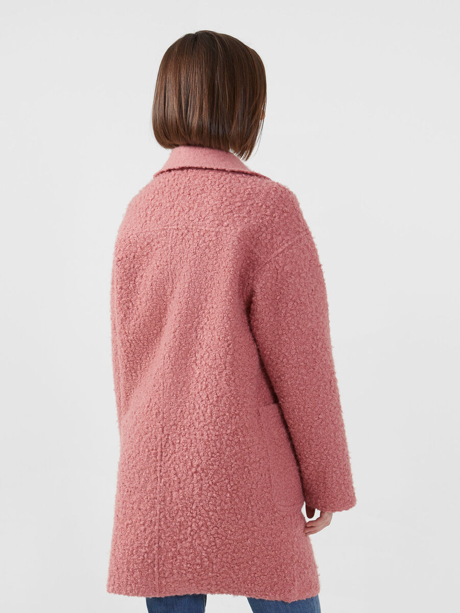 Oversized solid colour boucle coat