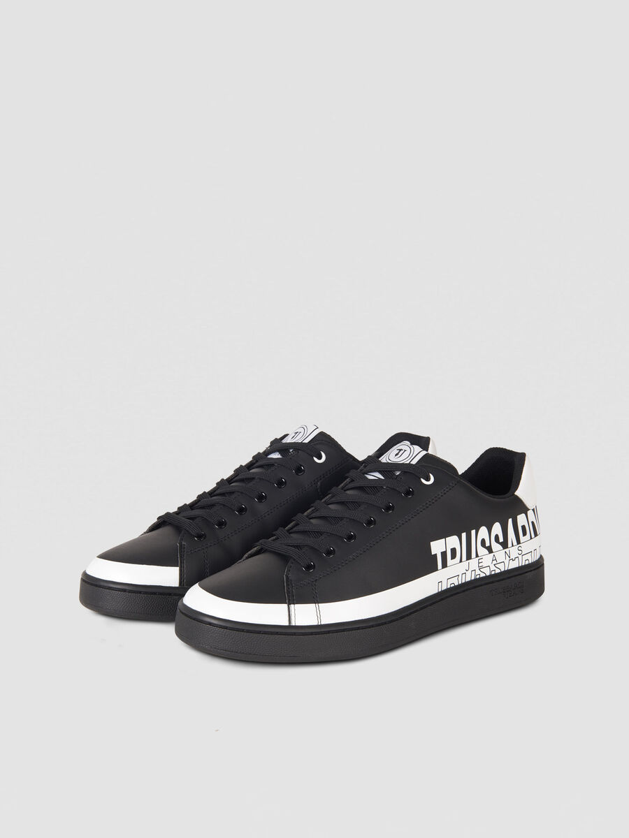 Faux leather sneakers with logo pattern