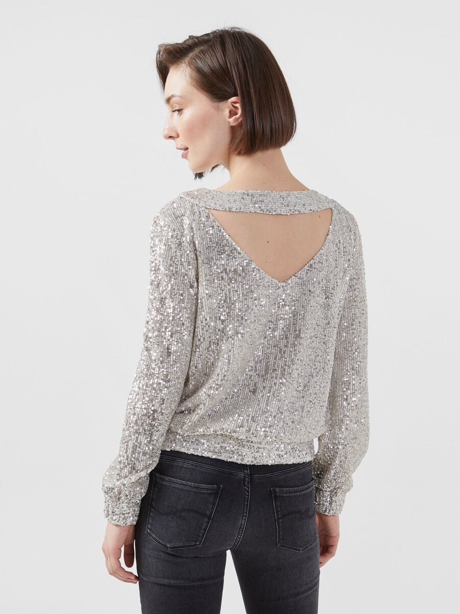 Cropped sequinned blouse
