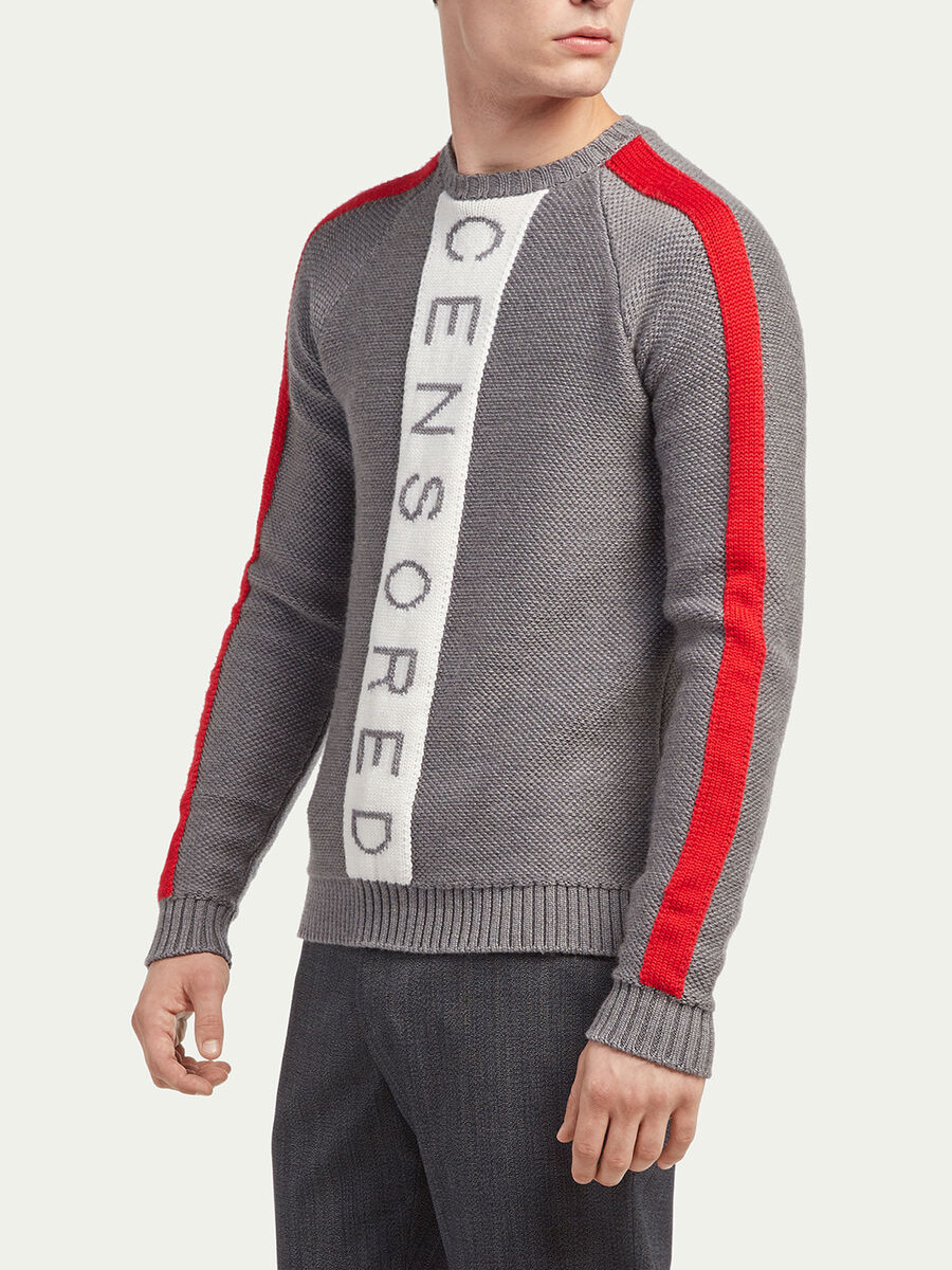 Slim fit pullover with print and bands