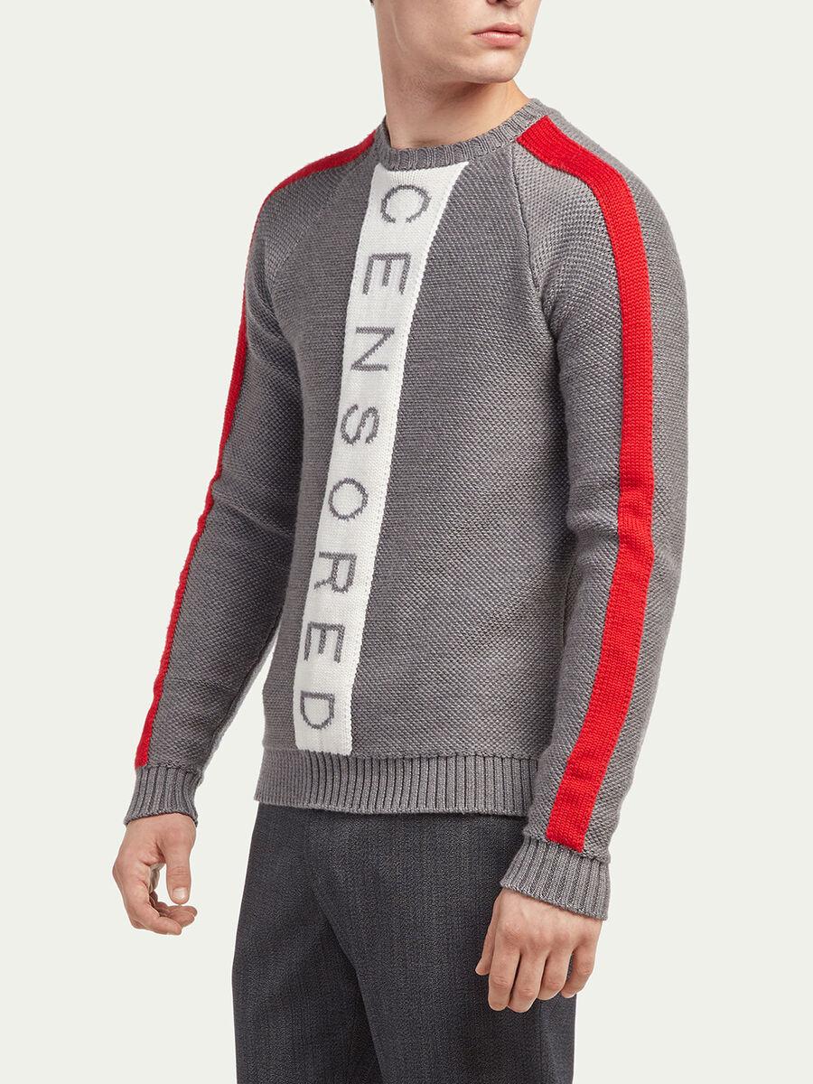 Pullover slim fit con stampa e bande