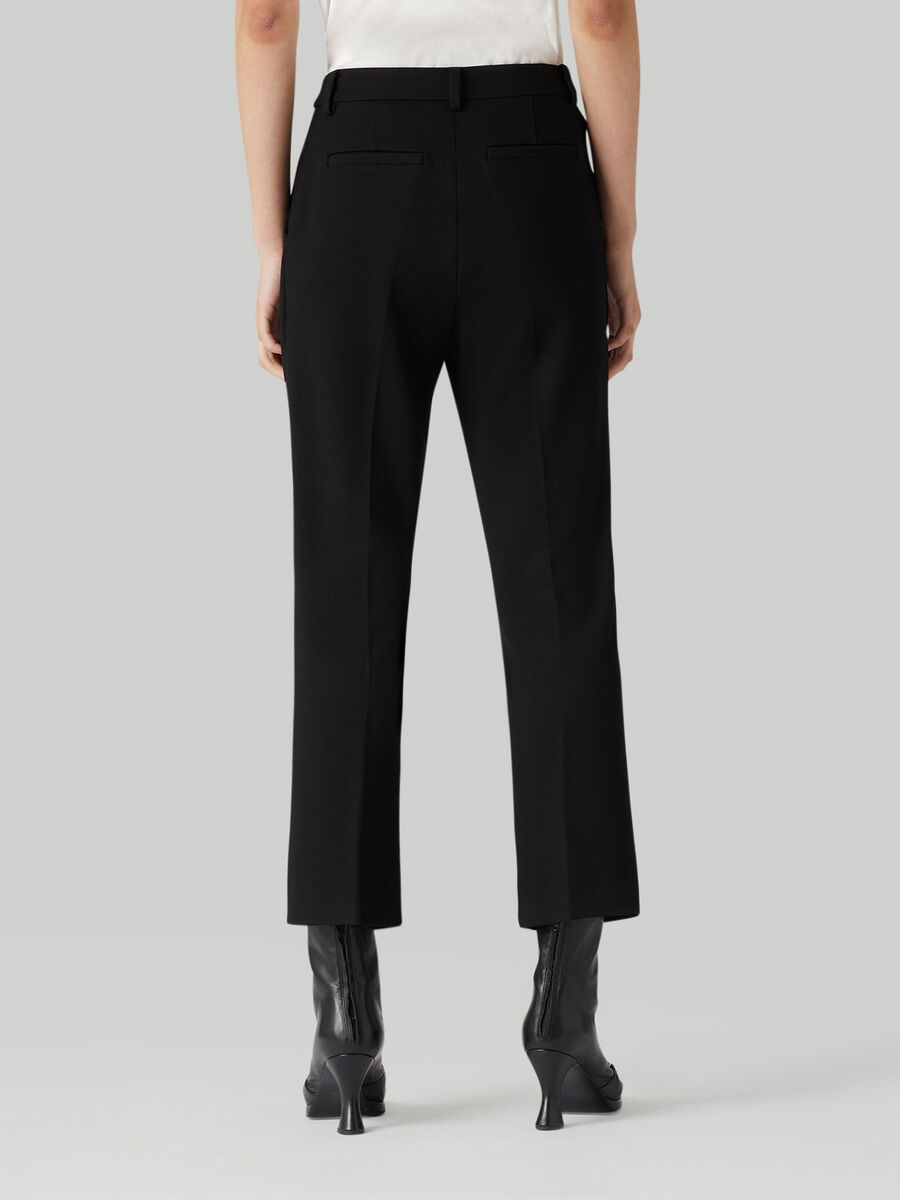 Cropped compact jersey trousers