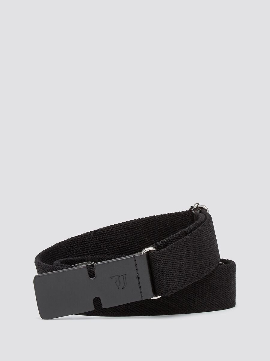 Fabric belt with leather buckle