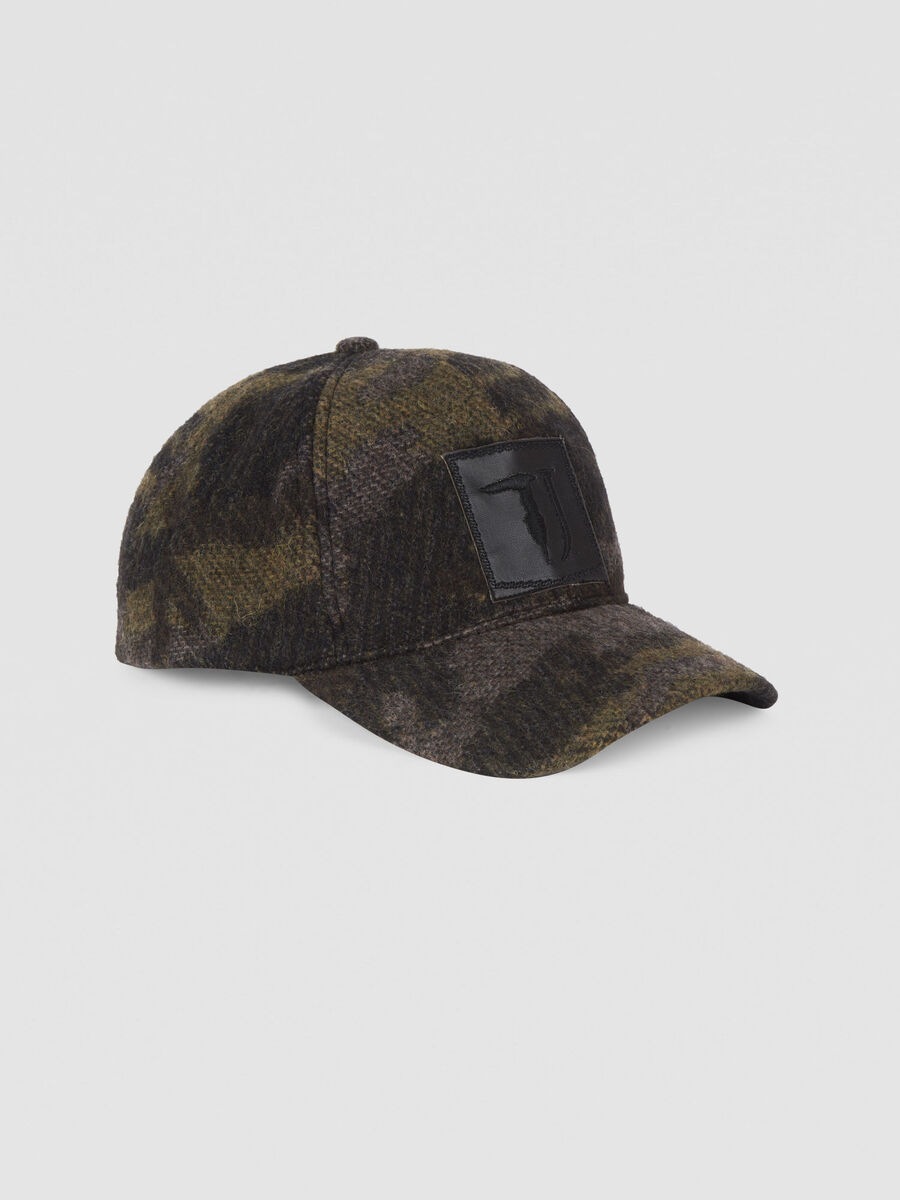 Baseball cap in a camouflage wool blend
