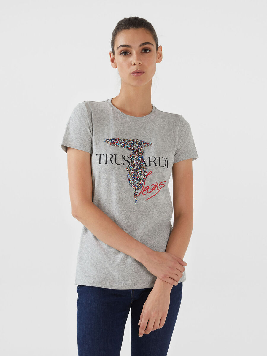 Regular fit jersey T-shirt with beading