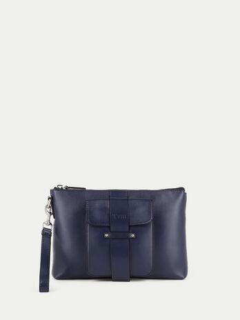 Medium Pocket leather clutch
