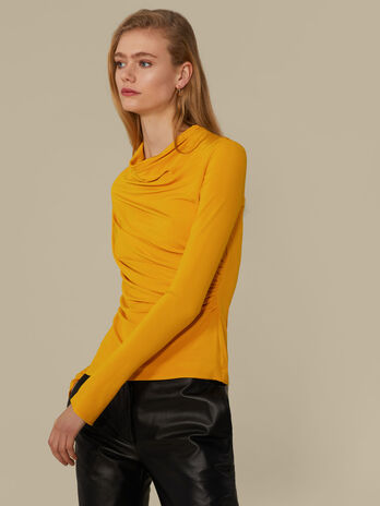 Blusa regular fit in jersey con drappeggio
