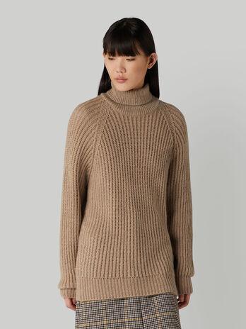 Mohair-blend polo-neck pullover