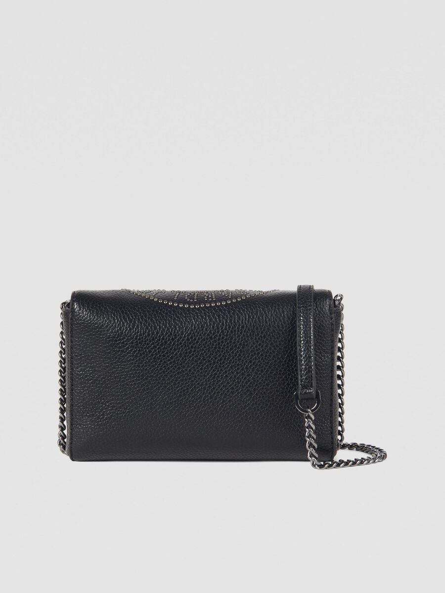 Faux leather Harper clutch with studs