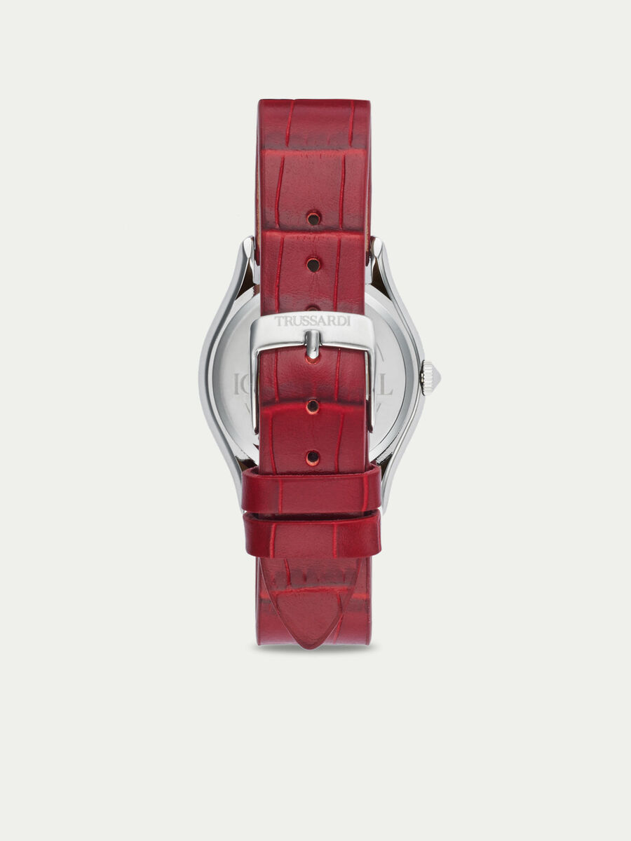 Steel T-Light watch with crocodile print