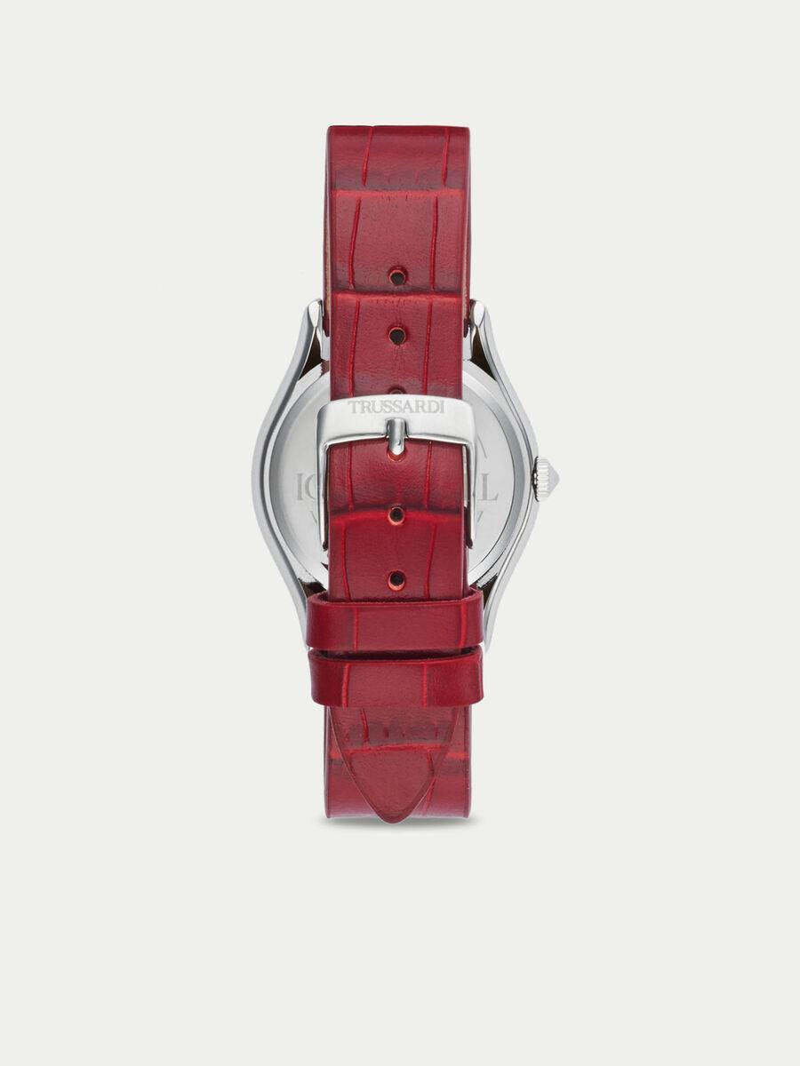 Steel T Light watch with crocodile print