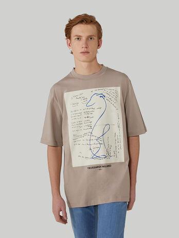 T-shirt over fit in puro cotone con maxi stampa