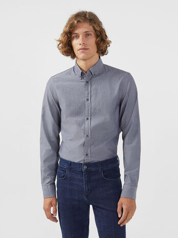Regular fit button down shirt in micro jacquard